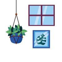 hängande växt inuti kruka vektor design