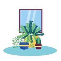 isolerade växter och fönstervektordesign