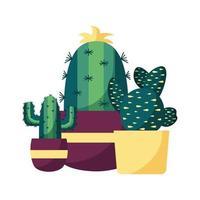isolerad kaktus inuti krukor vektor design