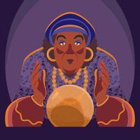Gypsy Fortune Teller Med Crystal Ball Illustration