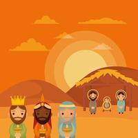 niedliche heilige Familie und weise Männer Krippenfiguren vektor