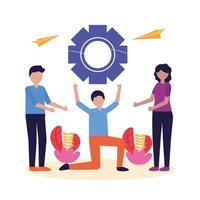 Leute mit Teamarbeitsikonenvektorentwurf vektor