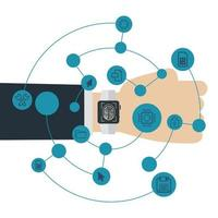 isolerad smart klocka och ikonuppsättning vektor design