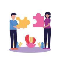 Frau und Mann mit Teamarbeitsikonenvektorentwurf vektor