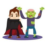 kleine Kinder in Halloween-Kostümen vektor