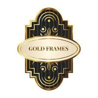 elegant gyllene ram med bokstäver vektor
