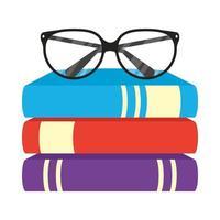 Stapel von Lehrbüchern mit Brillensymbolen vektor