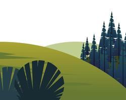 vintersäsong landskap scen med tallskog och berg