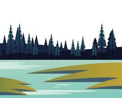 vintersäsong landskap scen med tallskog och sjö