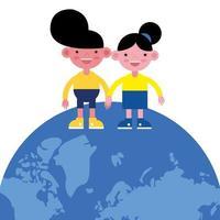 söta små barn på jorden planet vektor
