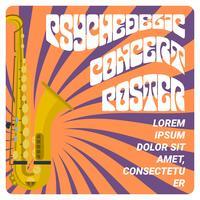 Flacher psychedelischer Konzert-Plakat-Vektor vektor