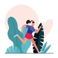 junge Frau läuft im Park vektor