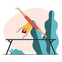 junge Frau, die Gymnastik auf Bar übt vektor