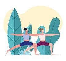 junge Frauen, die Gymnastik üben vektor