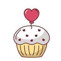 Muffin mit Herzballonvektorentwurf