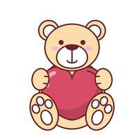 isolierter Teddybär mit Herzvektorentwurf