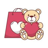 isolierter Teddybär mit Herz- und Taschenvektorentwurf