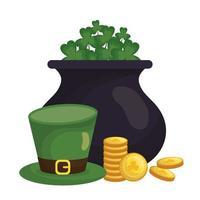 Saint Patrick's Day Klee, Topf, Münzen und Hut Vektor-Design