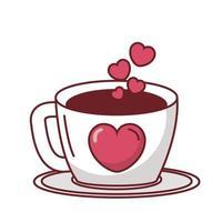 Liebesherz auf Kaffeetassevektorentwurf