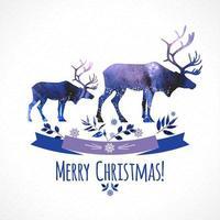 hjortar jul illustration i akvarell stil kort.