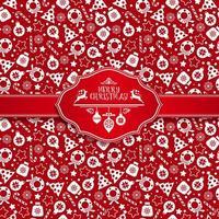 nahtloses Muster der Weihnachtsbeschaffenheitikonen auf rotem Hintergrund.