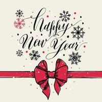 kalligraphischer Text frohes neues Jahr mit Schneeflocken und rotem Bogen. vektor