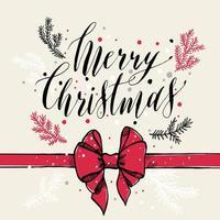 Kalligraphischer Text Frohe Weihnachten mit Schneeflocken, Zweigen und rotem Bogen. vektor