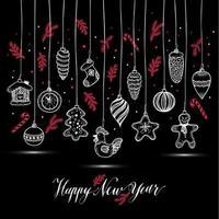 nyårs leksaker handritad stil. gratulationskort till jul vektor