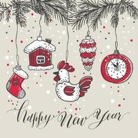 Neujahrsspielzeug handgezeichneten Stil. Grußkarte für Weihnachten vektor