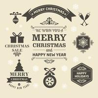 Weihnachtslogos und Medaillen im Retro-Stil für Weihnachten vektor
