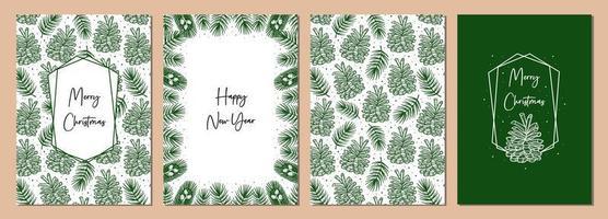 Satz Weihnachtsgrußkarten. Kegel mit Fichtenzweig Kiefernelement nahtlose Musterhintergrundbeschaffenheit. vektor