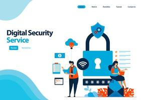 Zielseitenvorlage des digitalen Sicherheitsdienstes zum Schutz des Zugriffs und der Nutzung digitaler Einrichtungen. Mehrfachsicherheit mit einem Passwort. Illustration für UIux, Website, Web, mobile Apps, Flyer, Broschüre vektor