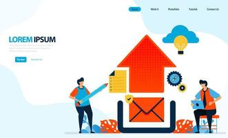 Vektor-Illustration des Hochladens von Grafikdesign. E-Mail an Cloud senden. Abbildung des Internet-Netzwerks. Entwickelt für Zielseite, Vorlage, Benutzeroberfläche, Website, mobile App, Flyer, Broschüre
