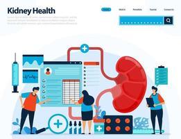 illustration för att kontrollera njurs hälsa. sjukdomar och störningar i njuren. kontroll och hantering av inre organ. designad för målsida, mall, ui ux, webbplats, mobilapp, flygblad, broschyr vektor