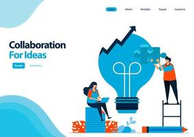Zielseitenvorlage zur Verbesserung des Problemlösungsprozesses durch Zusammenarbeit und Ideen. Glühbirne für Ideen. Illustration für UIux, Website, Web, mobile Apps, Flyer, Broschüre, Werbung vektor