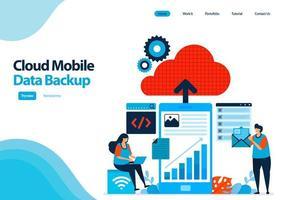 Zielseitenvorlage für mobile Backup-Arbeitsdaten und persönliche Dokumente für Cloud Computing. Mobile Online sicher mit Cloud-Technologie. Illustration für UIux, Website, Web, mobile Apps, Flyer, Anzeigen vektor