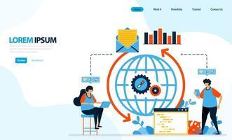 Vektor-Illustration des Internet-Ladesystems. Mechanismus für die Verbreitung von E-Mails und Daten mit Codierung. Entwickelt für Zielseite, Vorlage, Benutzeroberfläche, Website, mobile App, Flyer, Broschüre vektor