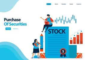 Zielseitenvorlage für den Kauf von Wertpapieren und Anleihen. Investition in Wertpapiere. Nachweis von Schuldverschreibungen und Aktien. Illustration für UIux, Website, Web, mobile Apps, Flyer vektor