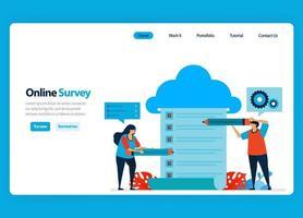 Landingpage-Design für Online-Umfrage- und Prüfungs-, Hosting- und Server-Services zur Verarbeitung von Umfrageergebnissen in Big Data und Datenbanken. flache Illustration für Vorlage, UIux, Website, mobile App, Flyer vektor