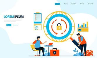 vektor illustration av säkerhetskontroller på internet-nätverk. ladda om ikonen. säkra och skydda tillgång till internet. designad för målsida, mall, ui ux, webbplats, mobilapp, flygblad, broschyr