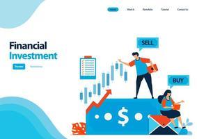 Zielseitenvorlage für Finanzinvestitionen in Aktien und Anleihen. Einsparungen bei Investmentfonds und hochverzinsliche Einlagen zur Kapitalerhöhung. Illustration für UIux, Website, Web, mobile Apps, Flyer vektor