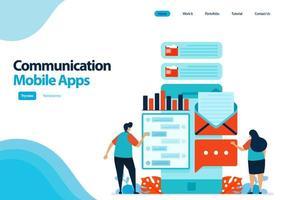målsidesmall för mobilappar för kommunikation och skicka meddelanden. chattappar med smartfone. kommunikationsutvecklingsteknik. illustration för ui ux, webbplats, webb, mobilappar, flygblad vektor