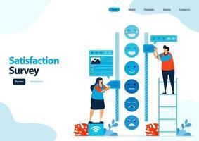 Zielseitenvorlage für Emoticon-Zufriedenheitsumfragen. Geben Sie Bewertungen und Sterne für Apps-Dienste. gutes Feedback mit Emoticons. Illustration für Banner, UIux, Website, Web, mobile Apps, Flyer, Karte vektor