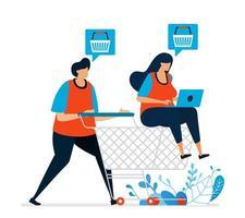 Vektorillustration des Geschäfts mit einem Wagen am Supermarkt. Kaufen Sie online mit Bestellungen im E-Commerce. im Lebensmittelgeschäft nach Heftklammern suchen. kann für Landing Page, Template, UI, Web verwendet werden