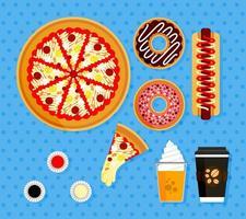 Illustrationssatz von Pizzabestellungen bei amerikanischen Fast-Food-Restaurants. Poster Elemente des Essens komplett mit heißem Kaffee, Orangensaft mit Float-Eis, Scheiben Pizza mit geschmolzenem Mozzarella-Käse