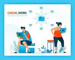 vektorillustration för avslappnat arbete och internetnätverk. mänskliga vektor seriefigurer. design för målsidor, webb, webbplats, webbsida, mobilappar, banner, flygblad, broschyr, affisch