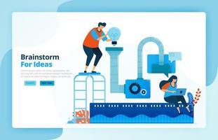 Vektor-Illustration von Aktivitäten aus dem Problemlösungsprozess und der Forschungsidee mit Brainstorming. Teamwork Zusammenarbeit, Maschinen und Diskussionen. Entwickelt für Zielseiten, Web, mobile Apps vektor