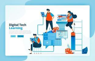 Vektor-Illustration von Aktivitäten aus modernen Lernprozessen mit Technologie, Effizienz in der Bildung und Fernunterricht. Kommunikation der Lernenden. Entwickelt für Zielseiten, Web, mobile Apps