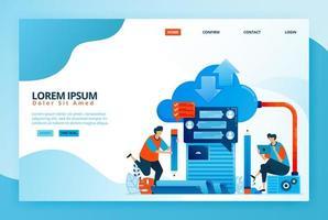 Cartoon-Illustration für Cloud-Computing-basiertes Online-Lernen. moderne Kommunikation und Lehre mit Distanz. digitales Lernen mit Internet. Vektordesign für Landingpage-Web, mobile Apps, Poster vektor