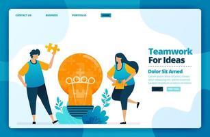målsidesvektordesign av lagarbete för idéer. design för webbplats, webb, banner, mobilappar, affisch, broschyr, mall, skylt, välkomstsida, marknadsföring, omslag, visitkort, annons